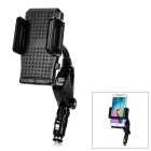 Dulisimai 2-in-1 Dual-Port USB Output Car Charger w/ Phone Mount Holder - Black