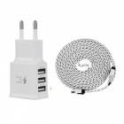 Cwxuan UNS-612 15W 3A 3-USB EU Plug Power Charger + Micro USB Cable - White