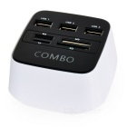 monitoiminen 3-Port USB-keskitin + TF / M2 / SD / MS kortinlukija Combo