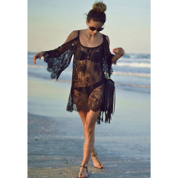Mandarin Sleeve Lace Off-Shoulder Blouse Sexy Dress - Black