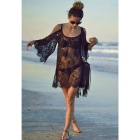 Mandarin Sleeve Lace Off-Shoulder Sexy Dress Perspective Blouse - Black