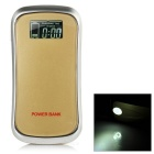 "Universal 1.2"" LCD 5V 7800mAh Li-ion 18650 Battery Power Bank w/ LED / Flashlight - Golden"