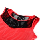 Stylish Sexy Tight PU + Lace Sleeveless Mini Dress - Red (Size XXL)
