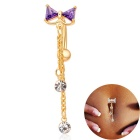 Women's Bowknot Style Rhinestone Pendant Navel Ring Nail Body Piercing - Golden + Purple