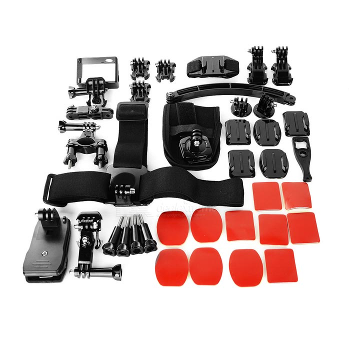 B Type 21-in-1 Accessories Bundle Kit for GoPro - BlackOther GoPro Accessories<br>Form ColorBlackQuantity1 DX.PCM.Model.AttributeModel.UnitMaterialABSShade Of ColorBlackPacking List1 x Helmet extension accessories6 x Glues4 x Flat arc bases w/ red glue 1 x Bicycle holder w/ Three-way adjustable pivot arm1 x 360 degree rotary wrist band1 x Selfie shaft with mount1 x Remote control wrist belt w/ Velcro for Gopro Hero 31 x Chest belt1 x Suction cup1 x Spanner1 x Yellow buoyancy rod + strap1 x Head band2 x Active bases1 x Helmet band2 x J type bases1 x Safety buckle1 x Multifunctional base1 x Large bag1 x Side frame + base mount for Gopro Hero 3 / 3+ / 4<br>