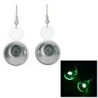 Stylish Women's LED 3-Mode Green Light Hanging Earrings - Silver (Pair / 1 x CR1220)