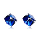 Xinguang Women's Cube Style Crystal + Alloy Stud Earrings - Silver (Pair)