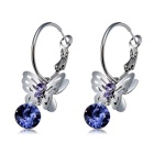 Women's Flying Butterfly Style Crystal Alloy Earrings - Silver (Pair)