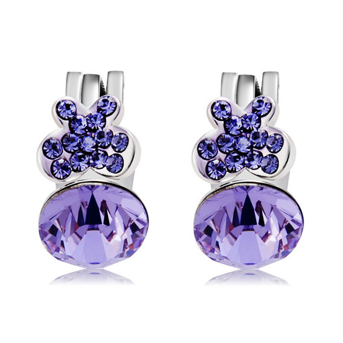 Purple Butterfly Style Crystals Inlaid Ear Clip - Silver (Pair)