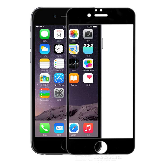 Clear Anti-Explosion Tempered Glass Full Film for IPHONE 6 - Black