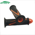 Universal Motorcycle Zinc Alloy Handle Grip Covers - Orange + Black