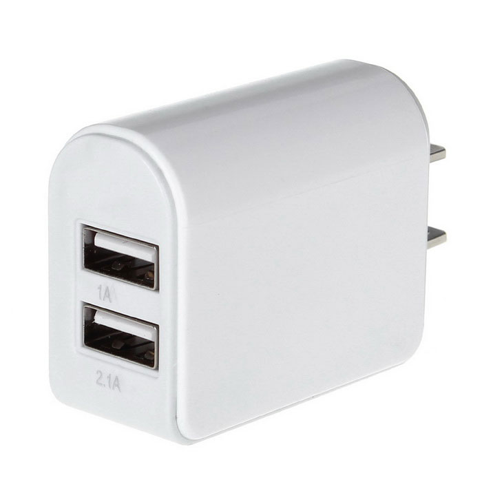 5V-3.1a twee-Port USB Power Adapter Oplader White (100 ~ 240V-Amerikaanse Plug)