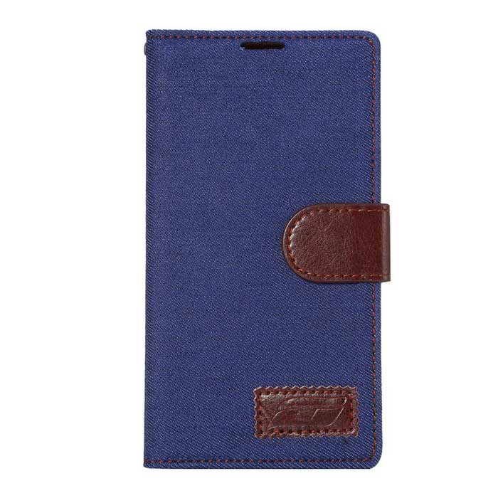 Denim Flip-Open PU Case w/ Stand, Card Slots for LG G4 - Blue + Brown
