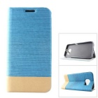 MO.MAT Assorted Colors Jean Pattern PC + PU Case w/ Card Slot & Stand for Samsung Galaxy S6 - Blue