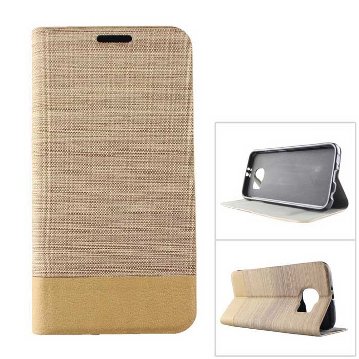 Jean Pattern Case w/ Card Slot & Stand for Samsung S6 - Brown