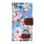 Stylish Flower Pattern PU Case for LG G4 - Sky Blue + Brown