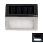 WaLangTing IP44 0.3W Outdoor Solar Stairs / Deck / Patio Lamp White 2-LED 6500K 12lm - Silver