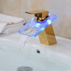 LED Color Changing Waterfall Glass Spout Bathroom Sink Faucet - Translucent Green + Gold