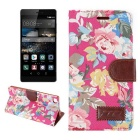 MO.MAT Retro Flowers Pattern Case w/ Stand for Huawei P8 - Multicolor