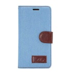 MO.MAT Jeans Pattern Protective PU + TPU Case w/ Stand / Card Slot for Huawei P8 - Blue