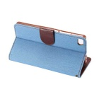 MO.MAT Jeans Pattern PU Case w/ Stand / Card Slot for Huawei P8 - Blue