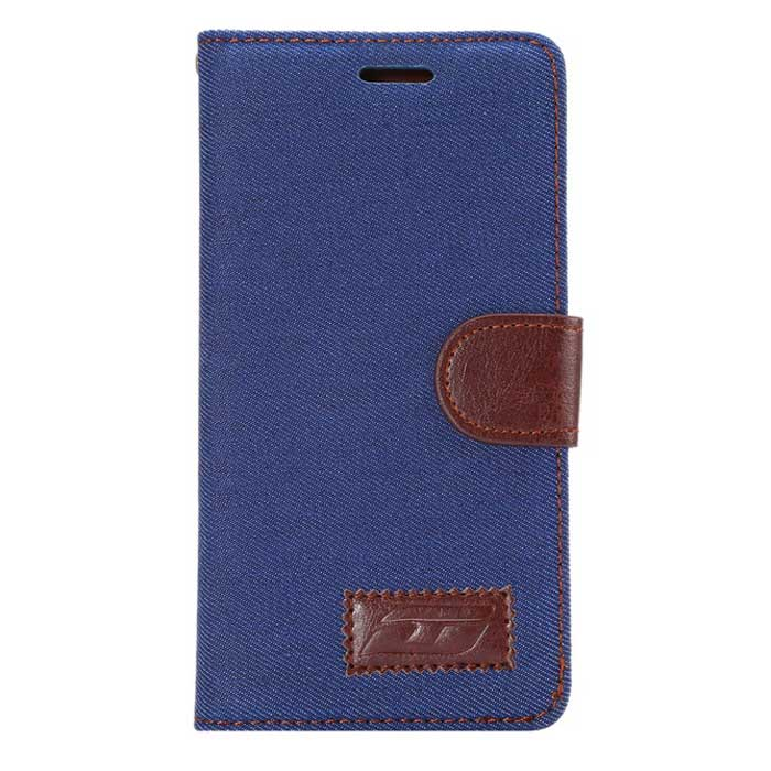 MO.MAT JEAN Pattern Case w/ Card Slot, Stand for Huawei P8 - Dark Blue