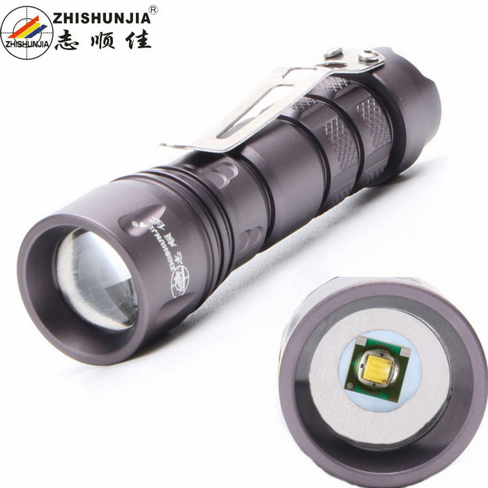 ZHISHUNJIA SK72XPE LED 3-Mode White Zooming Flashlight w/ Clip - Grey