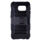 2-in-1 Protective PC + Silicone Case w/ Stand for Samsung Galaxy S6 Edge - Black