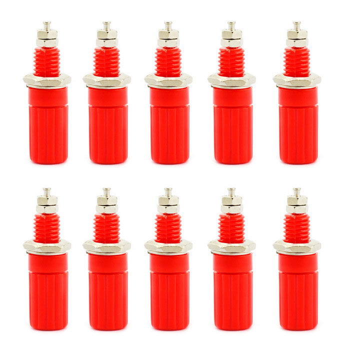 Jtron 4mm Binding Post Jacks for Banana Plug Test Probe Connector - Red (10 PCS)DIY Parts &amp; Components<br>Quantity10 DX.PCM.Model.AttributeModel.UnitForm ColorRedMaterialPlastic + ironEnglish Manual / SpecNoCertificationNoPacking List10 x Banana jacks<br>