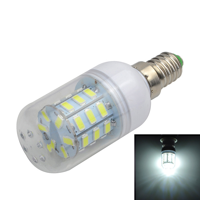 E14 6W LED Corn Lamp Bulb Bluish White Light 500lm - White + YellowE14<br>Form  ColorWhite + Yellow + Multi-ColoredColor BINBluish WhiteMaterialAluminum + plasticQuantity1 DX.PCM.Model.AttributeModel.UnitPower6WRated VoltageAC 220-240 DX.PCM.Model.AttributeModel.UnitConnector TypeE14Chip BrandOthers,N/AEmitter TypeOthers,5730 SMDTotal Emitters24Actual Lumens400~500 DX.PCM.Model.AttributeModel.UnitColor Temperature7000KDimmableNoBeam Angle360 DX.PCM.Model.AttributeModel.UnitCertificationCE, RoHSPacking List1 x LED Bulb<br>