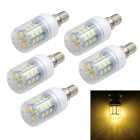 Marsing E14 5W 24-SMD 5730 LED Corn Bulb Warm White Light 3500K 500lm (AC 220~240V / 5 PCS)