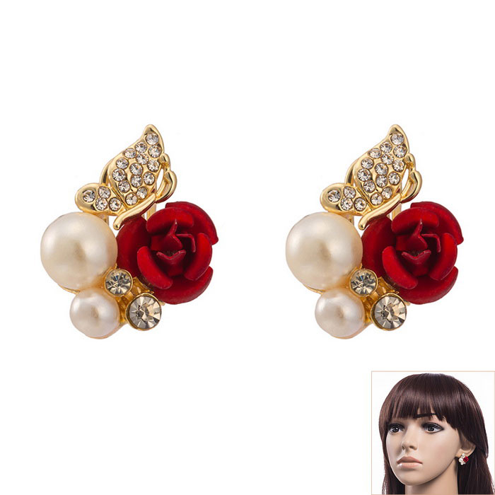 Women S Erfly Artificial Pearl Red Rose Style Zircon Alloy Studs Earrings Pair