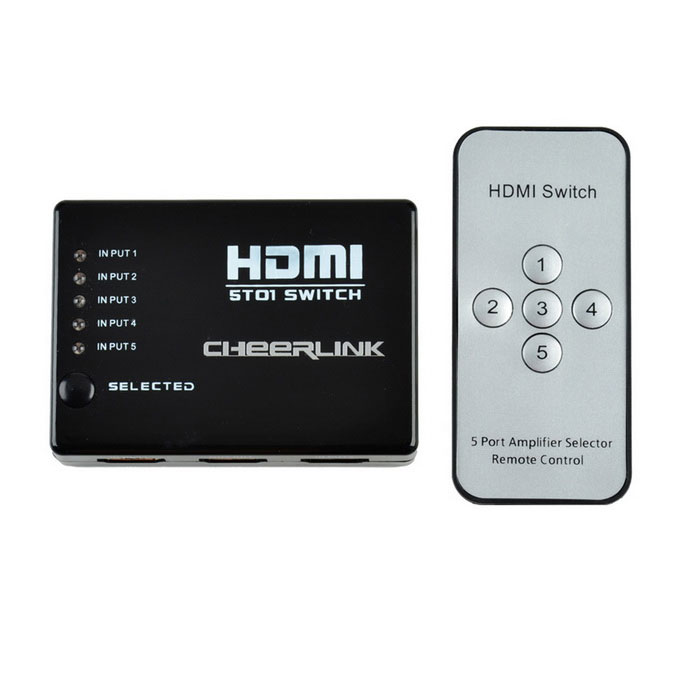 CHEERLINK RM-501 5 X 1 3D 1080p HDMI Mini V1.4b Switch w / télécommande