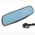 "4.3"" FHD 1080P CMOS 170° Wide-Angle Dual-Lens Car DVR & Rearview Mirror - Black"