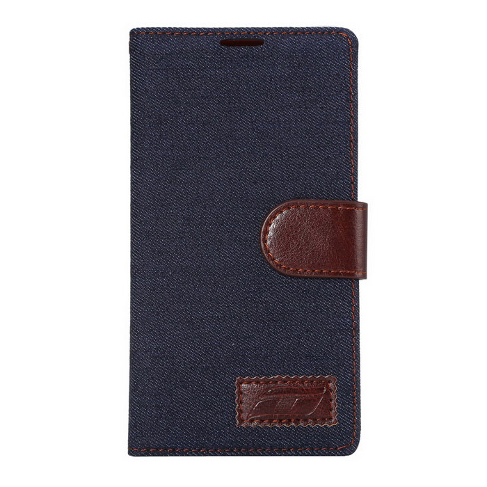 Denim Fabric Style Protective PU Case for LG G4 - Deep Blue + Brown