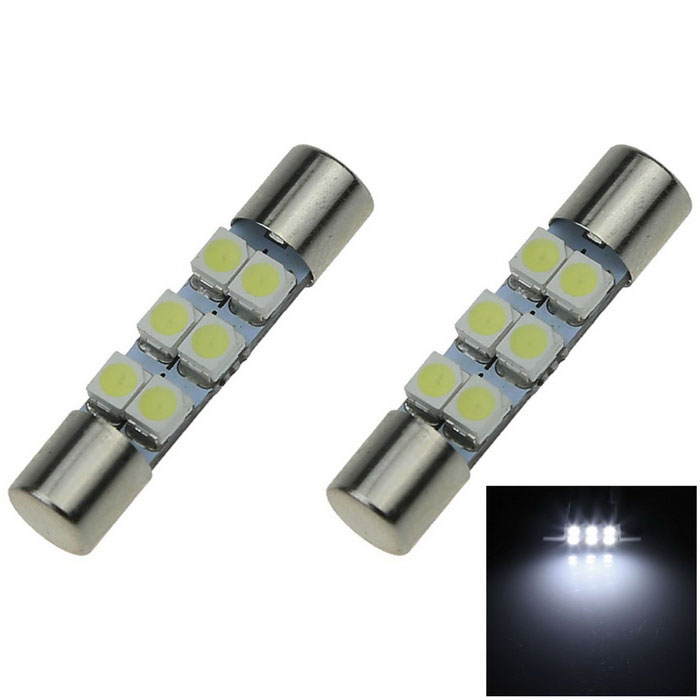 Festoon 6641 Fuse 6500K 60lm 6-SMD White Car Lamp (2PCS / DC 12V)
