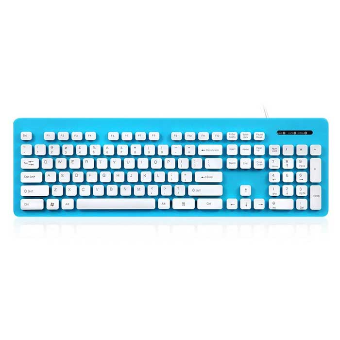 High-Quality Whole Body Washable USB 2.0 Wired Keyboard - Blue + ...