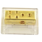 Car Audio Four Way Power Distribution Fuse Holder Block - Golden