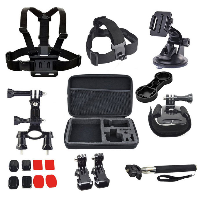 18-In-1 Accessories Kit for GoPro Hero 4 Hero HD 3+ 3 2 1 - BlackMounting Accessories<br>Form ColorBlackModelBP50Quantity1 DX.PCM.Model.AttributeModel.UnitMaterialPlasticShade Of ColorBlackCompatible ModelsGoPro Hero 1,GoPro Hero 2,GoPro Hero 3,GoPro Hero 3+,GoPro Hero 4RetractableNoMax.Load1 DX.PCM.Model.AttributeModel.UnitPacking List1 x Chest strap1 x Headband1 x Suction cup1 x Bicycle clip1 x Big bag1 x Wrist band1 x Wrench1 x Self-timer lever2 x J-mount2 x Square fixing plates2 x Circular retainer2 x Square plastics2 x Round rubbers<br>