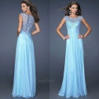 Lace Stitching Hollow Out Sexy Chiffon Formal Dress - Light Blue (L)