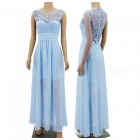 Lace Stitching Hollow Out Sexy Chiffon Formal Dress - Light Blue (S)