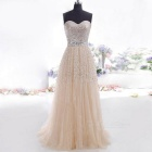 Women's Trendy Sexy Strapless Sequin Party Evening Maxi Dress - Light Yellow (Size S)