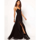 Fashion Women's Chiffon Slip Long Dress- Black (XL)