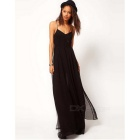 Fashion Women's Chiffon Slip Long Dress - Black (Size M)