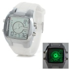 Sports Glow-in-the-Dark Silicone Band Quartz Analog Wrist Watch - White + Silver (1 x CR2025)