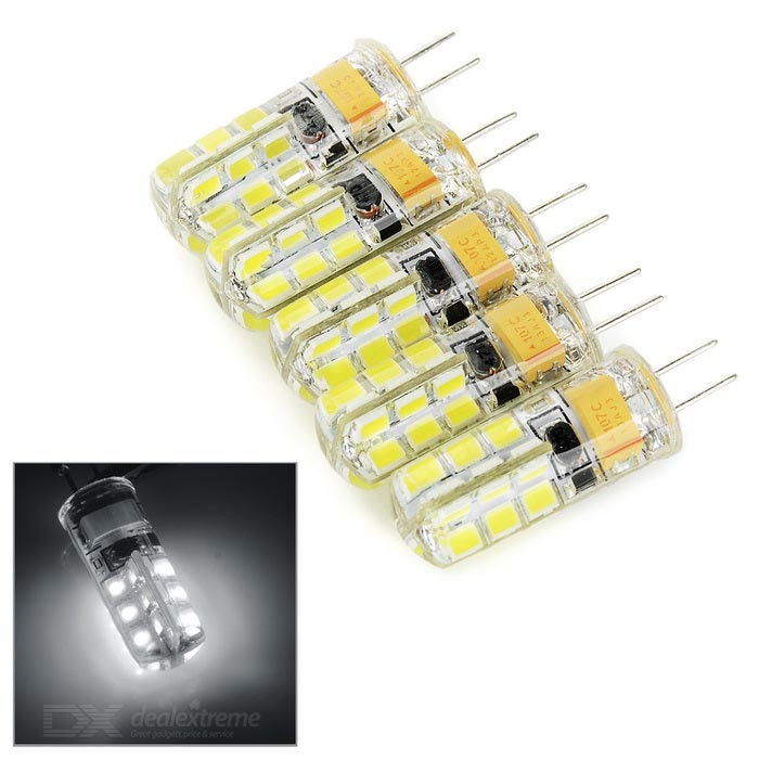 G4 2W Car Cool White LED Reading Lamp 130lm - White + Yellow (5PCS)