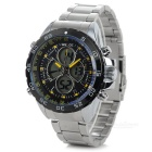 WEIDE Men's Stainless Steel Band Quartz Digital + Analog Wrist Watch w/ Backlight - Silver + Black