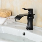 Contemporary Waterfall Brass ORB Finish Bathroom Sink Faucet - Black