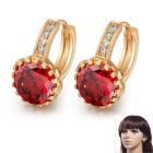 Women's Fine Copper 24K Gold-Plated Round Shaped Ziron Inlaid Shining Earrings - Gold + Red (Pair)