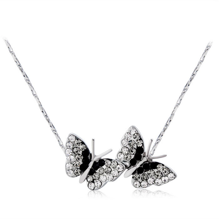 Women's Butterflies Style Alloy + Crystal Pendant Necklace - Silver
